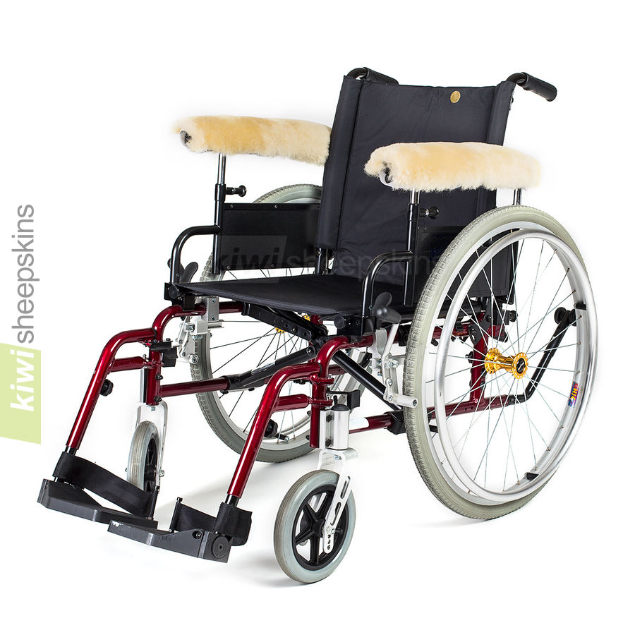 Sheepskin wheelchair arm/leg covers - fitted to wheelchair armrests