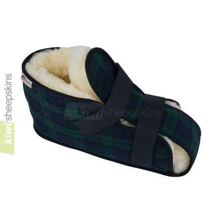 Sheepskin medical boot in closed position