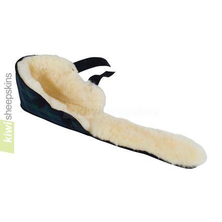 Sheepskin medical boot in fully open position