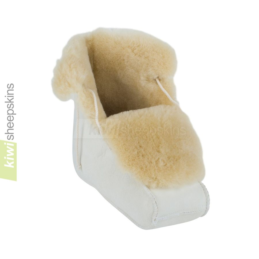 Enclosed sheepskin medical boots - large opening
