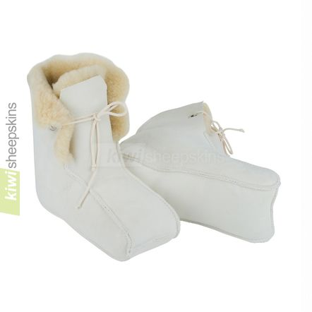 Enclosed sheepskin medical boots - close up view