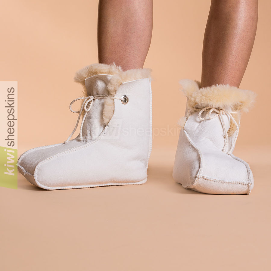 Enclosed sheepskin medical boots modelled