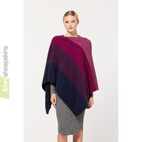 Possum Merino Poncho - large: Navy/Berry/Heather