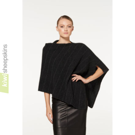 Possum Merino Poncho with Metallic highlights: Charcoal