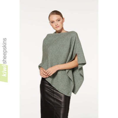 Possum Merino Poncho with Metallic highlights: Mint