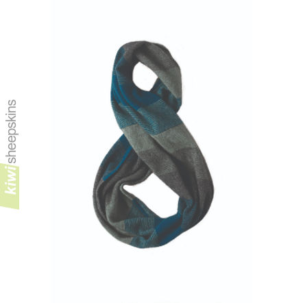 Possum Merino Snood: Teal/Mint/Pewter