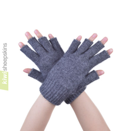 Possum Merino Open Finger Glove: M, Pewter
