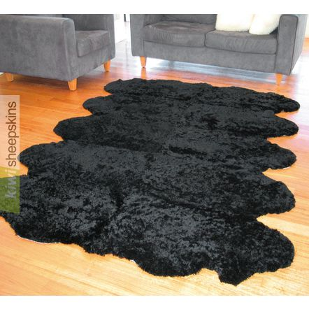 Bowron Zealamb short wool sheepskin rug - Black color