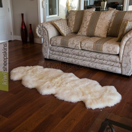 Spring Lamb lambskin rug - 2-pelt Double - Ivory White color