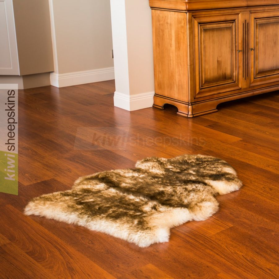 Single XL sheepskin rug - Brown Tip color