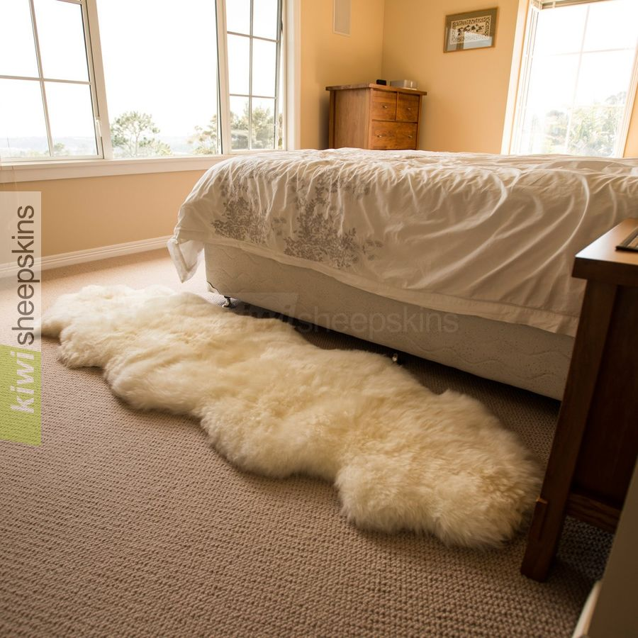 Double Sheepskin Rug In Natural Ivory White Color Excellent Next To The Bed