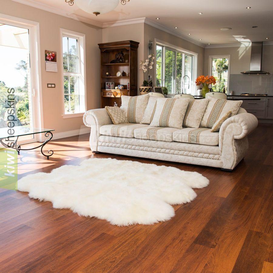Large Sexto 6-pelt sheepskin rugs - Ivory White color