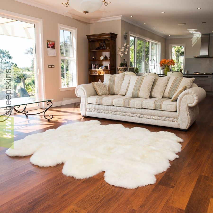 Large Octo sheepskin rug - Ivory White color