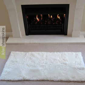 Hearth rug - shorn lambskins combined with curly wool sheepskins
