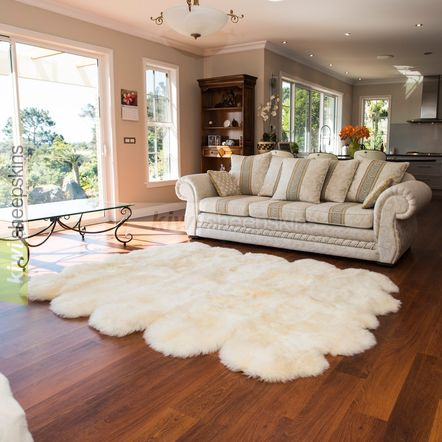 Large sheepskin rug - 10 pelt - Ivory White color