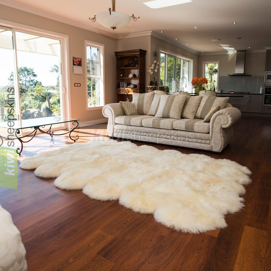 12 Pelt Natural Shape Sheepskin Rug In Ivory White Color