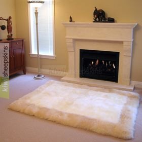Sheepskin border rug