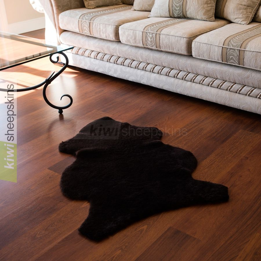 Shorn shearling rugs - natural pelt shape - Chocolate color